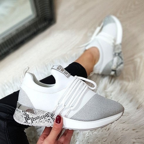 Trampki Designerksie Biały+Srebrny Adidasy 9076