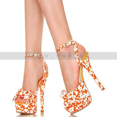 NIE - Wesołe Biało Pomarańczowe Plamki Sexy Sandały