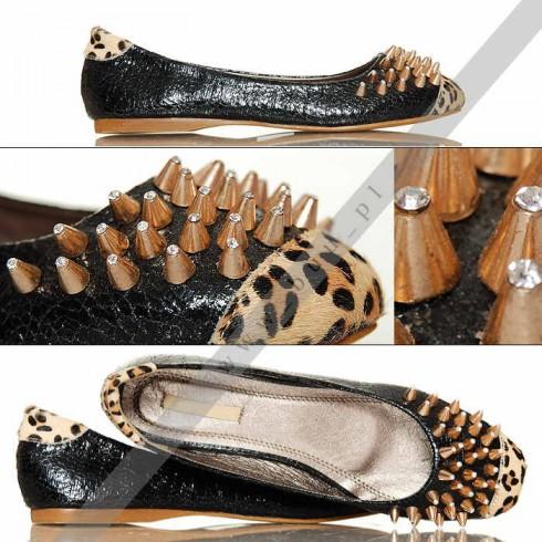 NIE - Ekskluzywne Balerinki - Ćwieki Leopard
