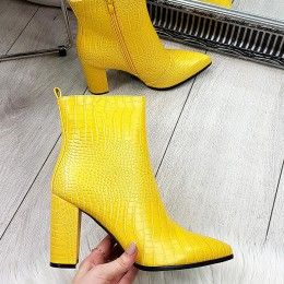 Botki Żółte Subtelne Skóre Aligatora 9144