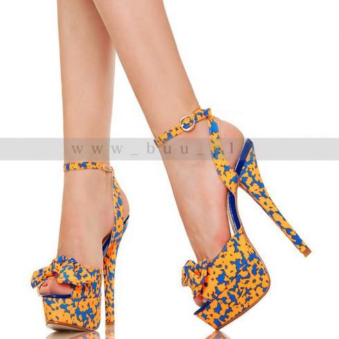 NIE - Wesołe Orange Blue Plamki Sexy Sandały