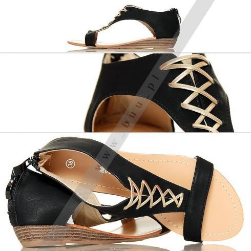 NIE - Czarne Sandały - Złoty Gorset