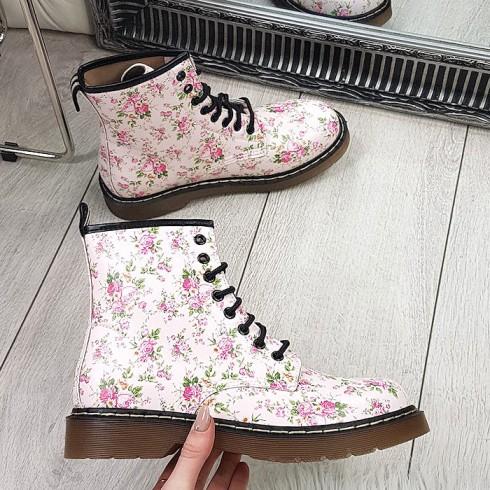 Botki Kwiatowe  Martensy Kauczukowa Podeszwa 9190