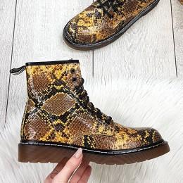 Botki Wężowe Żółte Eko Martensy 9193