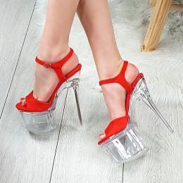 Sandały Ogniste Czerwony Zamsz Mega Wysokie 9214