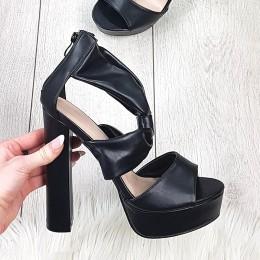Sandały Czarne Kobiece Na Słupku 9235