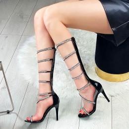 Sandały Niezwykłe Czarne Delikatne Paski Cyrkonie 6009