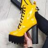 Botki Żółte Lakierowane Mega Wysokie 9249
