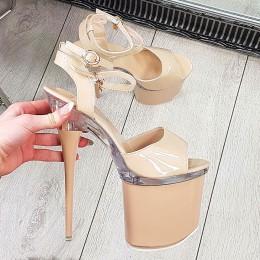 Sandały Beżowe Wysokie na Pełnej Platformie - Szpilka 9272