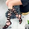 Sandały Czarny Zamsz - Transparentny Obcas 9243