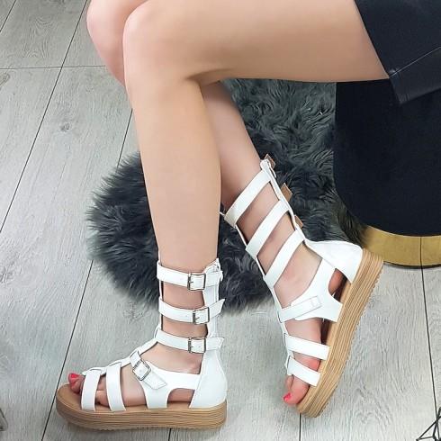 Sandały Białe Rzymianki Na Platformie 8730