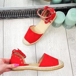 Espadryle Czerwone Sandały w Dżety 9309