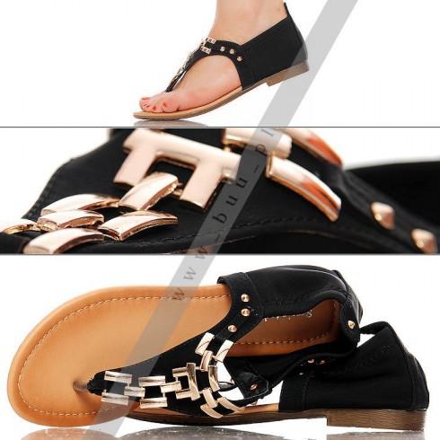 NIE - Czarne Sandały - Złoty Łańcuch