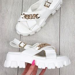 Sandały Białe Na Traperze - Złoty Łańcuch 9289