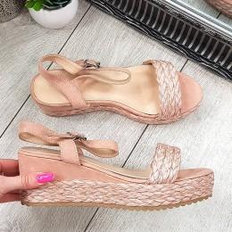 Sandały Różowe Zamszowe Pleciony Pasek 7881