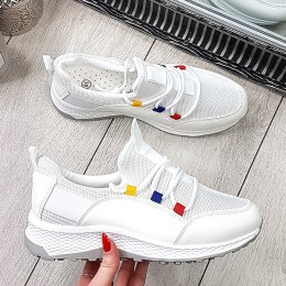 Trampki Białe Wsuwane Zamszowe Adidasy 9363