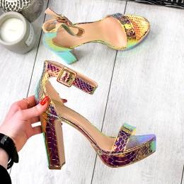 Sandały Złote Wężowe Metaliczne 9359