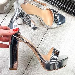 Sandały Srebrne Gładkie Metaliczne 9375