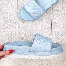 Klapki Niebieski Pikowany Pasek Eko-skóra 9358