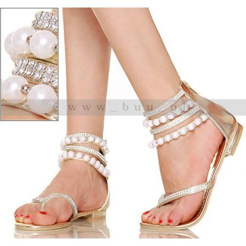 NIE - Intrygujące Złote Kobiece Sandały z Perłami