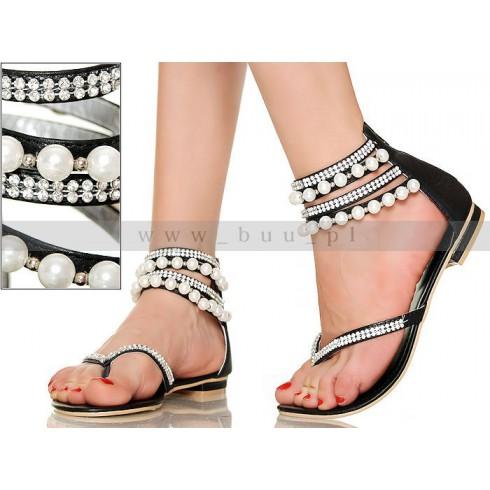 NIE - Intrygujące Kobiece Sandały z Perłami