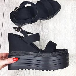 Sandały Czarne Zamszowe Na Koturnie 9353