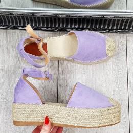 Sandały Fioletowe Zamszowe Espadryle 9370