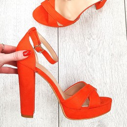 Sandały Kobiece Pomarańczowe Na Słupku 9378