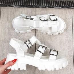 Sandały Białe na Traperze w Skóre Aligatora 9345
