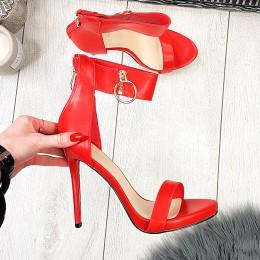 Sandały Czerwone Kobiece Na Szpilce 9414