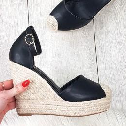 Sandały Czarne Eko-skóra Espadryle na Koturnie 9396