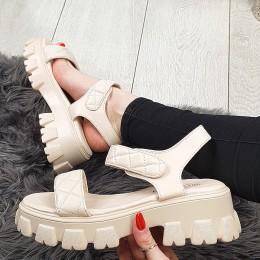 Sandały Beżowe Pikowane Na Rzepe - Traper 9393