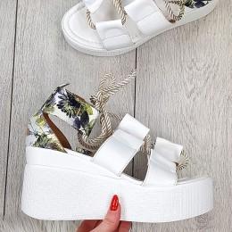 Sandały Białe w Kwiatową Piętą Wiązane nad Kostką 9401