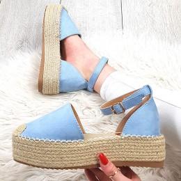 Sandały Niebieskie Zamszowe Espadryle 9402