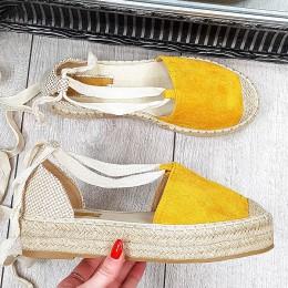 Sandały Żółte Wiazane nad Kostką 9405