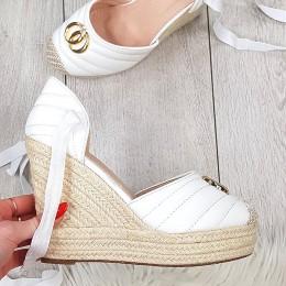 Sandały Białe Wiązane na Kostce - Złota Ozdoba 9412