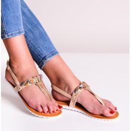 Sandały Beżowe Japonki z Złote i Cyrkoniowe Zdobienie 9496