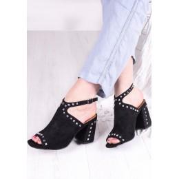 Sandały Czarne Zamszowe w Srebne Kolce 9505