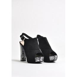 Sandały Czarne Zamszkowe Na Wężowym Obcasie 9508