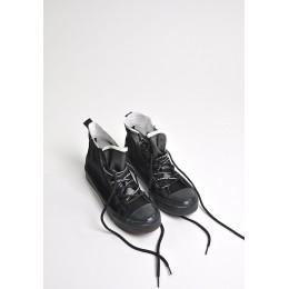 Trampki Czarna Siatka Przeźroczysta Cholewka 9522