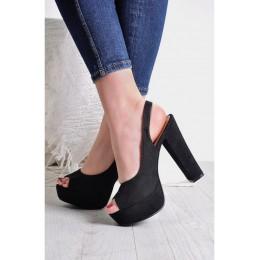 Sandały Klasyczne Czarne Na Słupku 9528