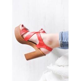 Sandały Czerwone Efektowne Wzory 9531