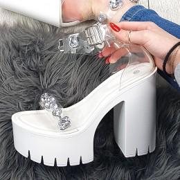 Sandały Białe w Przeźroczyste Paski - Duże Cyrkonie 9425