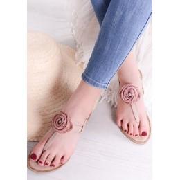 Sandały Różowe w Efektowne Zdobienie 9559