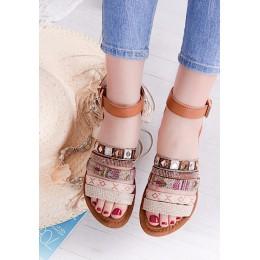 Sandały Brązowe w Kolorowe Wzorki 9567