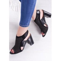 Sandały Czarne Ażurowe Na Słupku 9582