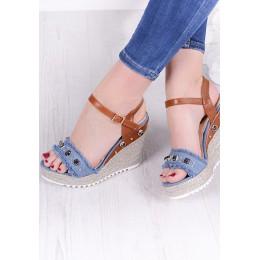 Sandały Jeansowe Espadryle Na Koturnie 9599