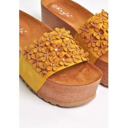 Klapki Żółte Zamszowe Wysokie w Kwiatki 9600