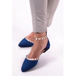Sandały Granatowe Jeansowe Czubaszki w Ćwieki 9663