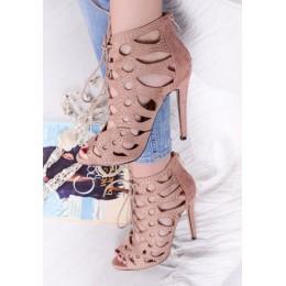 Sandały Różowe Gladiatorki Na Szpilce 9665